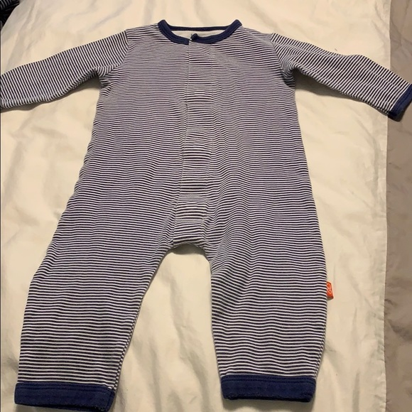 Magnificent Baby Other - Magnetic blue and white striped onesie